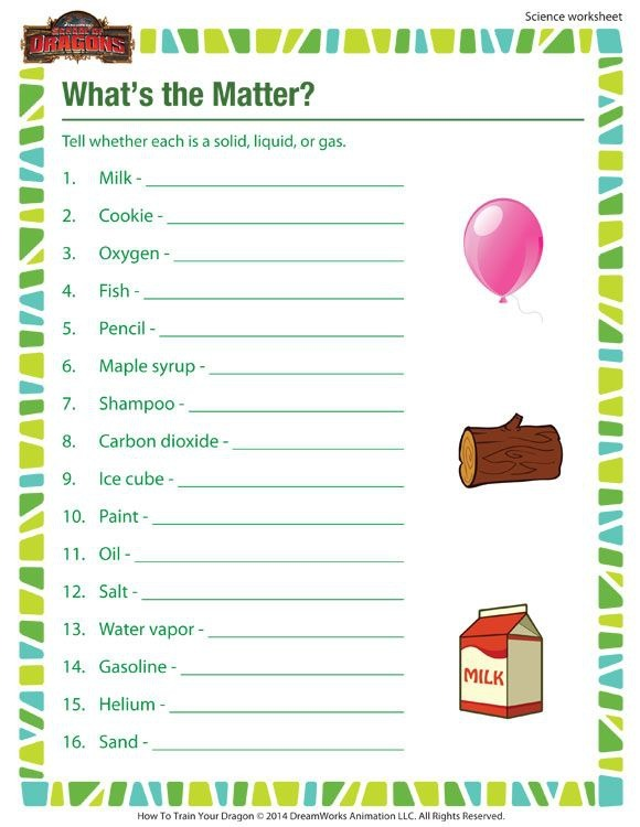 The Matter Printable Science Worksheet For Rd Grade Third