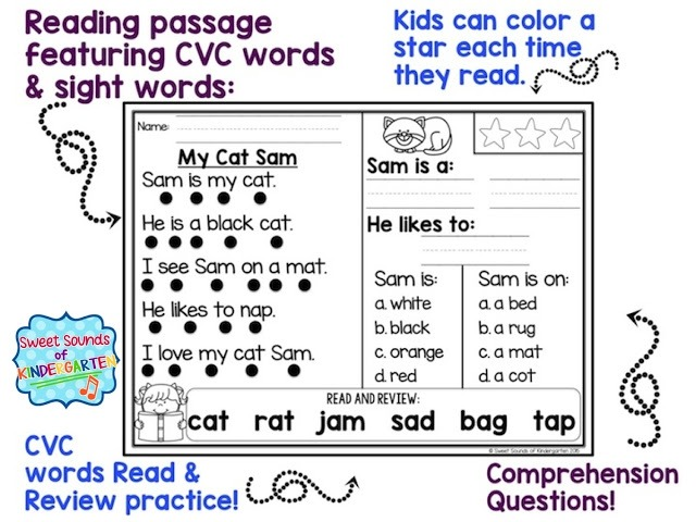 The Primary Pack Kindergarten Reading Comprehension Passages