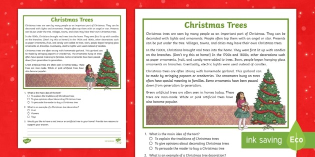 Third Grade Christmas Trees Reading Passage Comprehension Activity