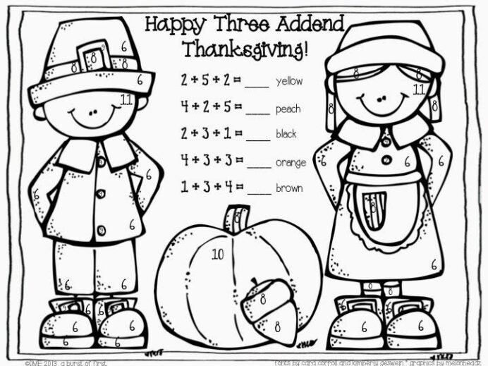 Three Addend Color By Number Free Thanksgiving Math Worksheets For