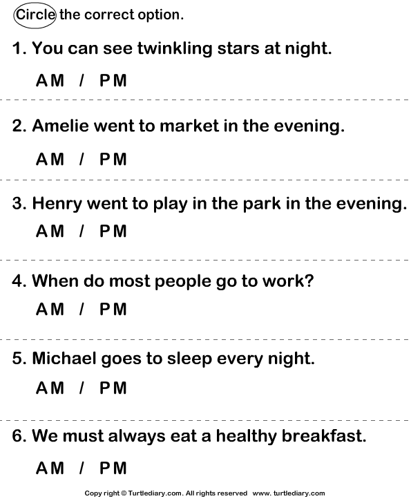 Time Am Or Pm Worksheet