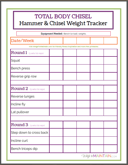 Total Body Chisel Review And Printable Weight Tracker