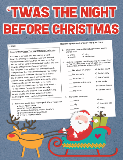 Twas The Night Before Christmas Comprehension