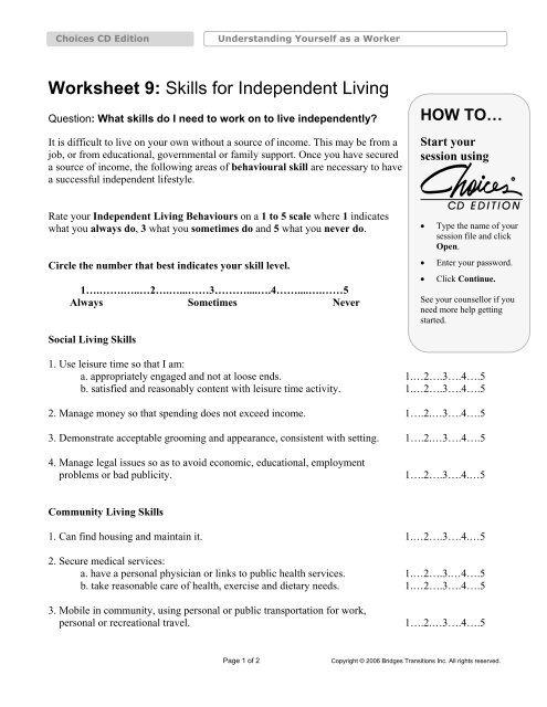 Worksheet  Skills For Independent Living