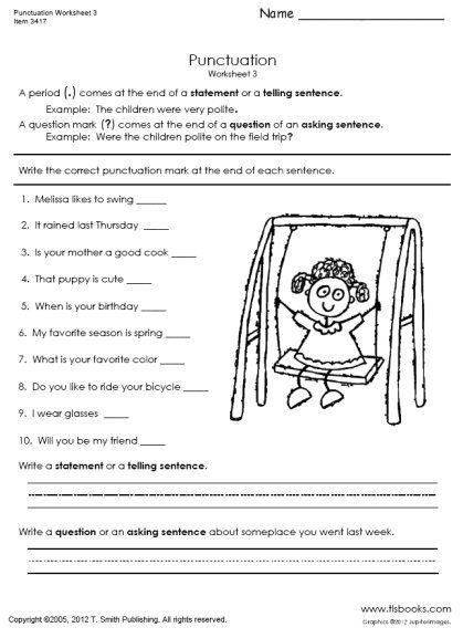 Worksheet On Punctuations For Grade
