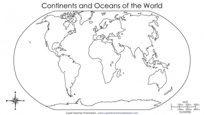 World Map Worksheets Kids