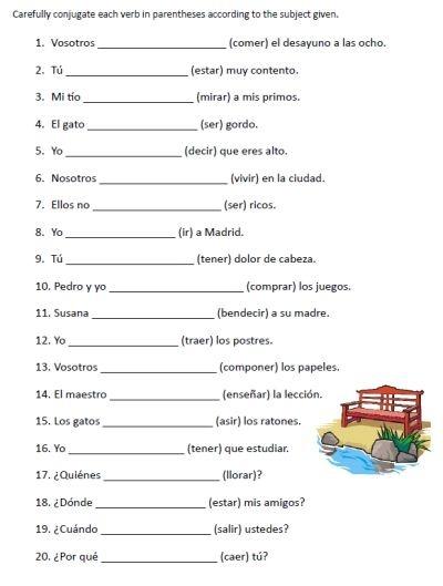 Writing Sentences In Spanish Worksheets Math Vs Best Language